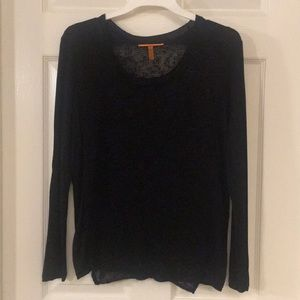 Black Semi-Sheer Distressed Sweater